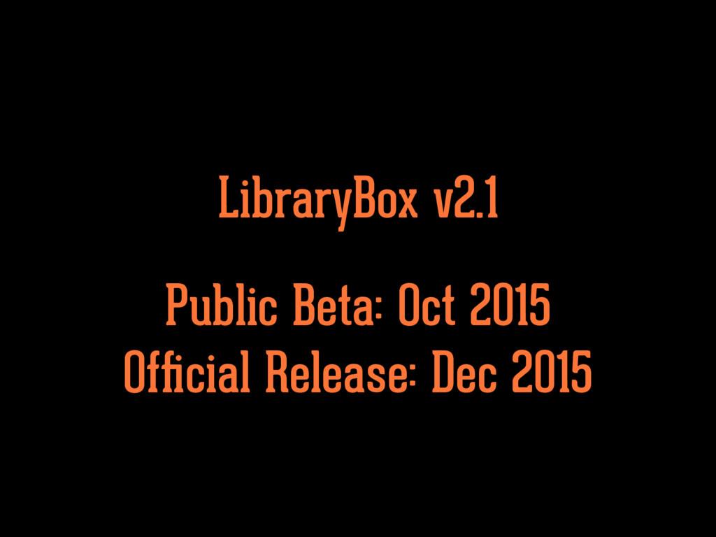 Public Beta: Oct 2015 Official Release: Dec 2015...