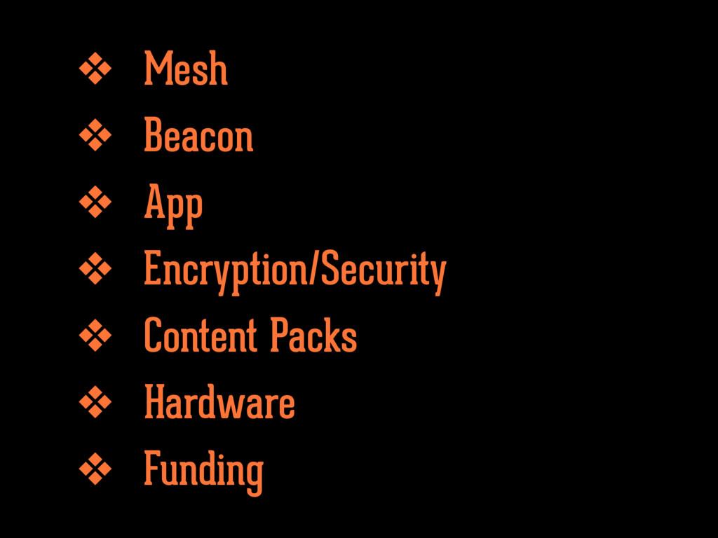 ❖ Mesh ❖ Beacon ❖ App ❖ Encryption/Security ❖ C...