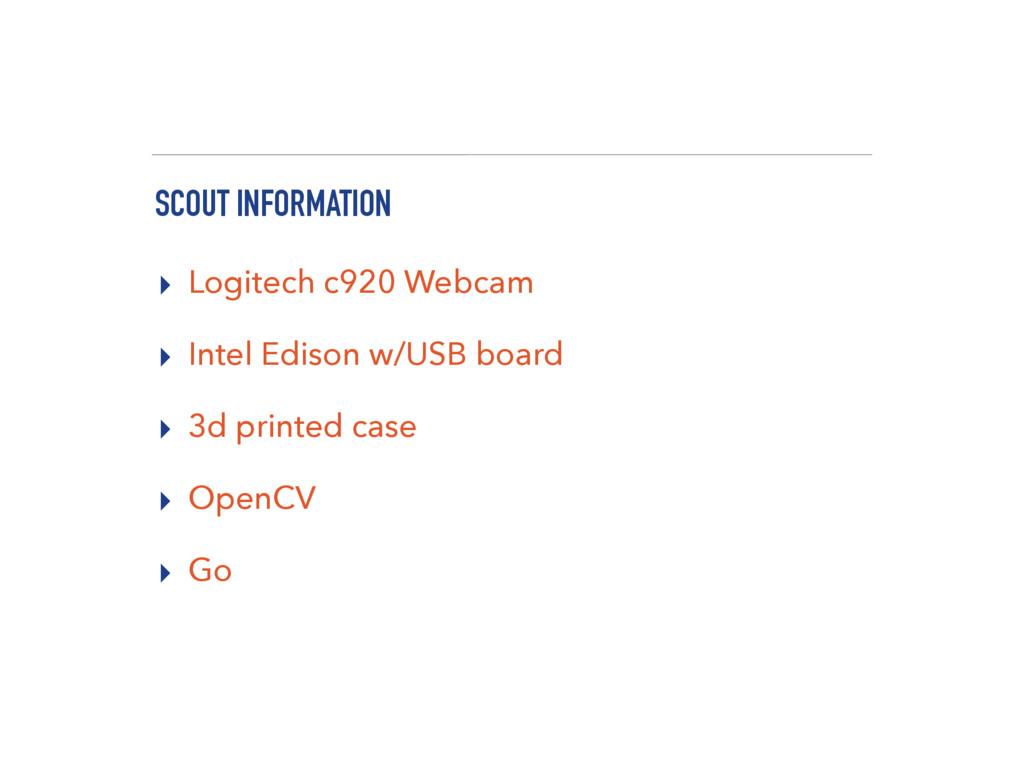 SCOUT INFORMATION ▸ Logitech c920 Webcam ▸ Inte...
