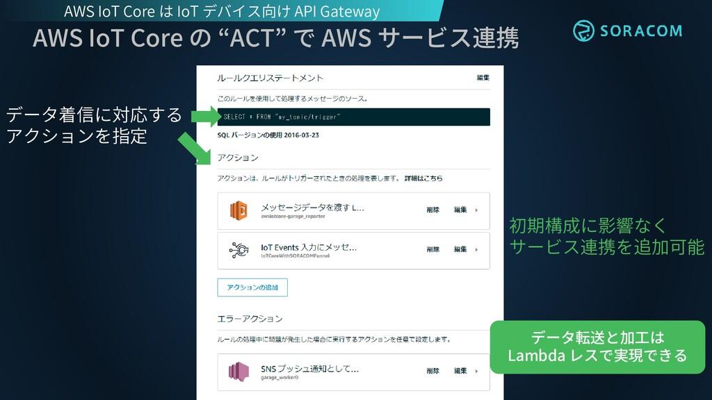 """AWS IoT Core の """"ACT"""" で AWS サービス連携 初期構成に影響なく サービ..."""