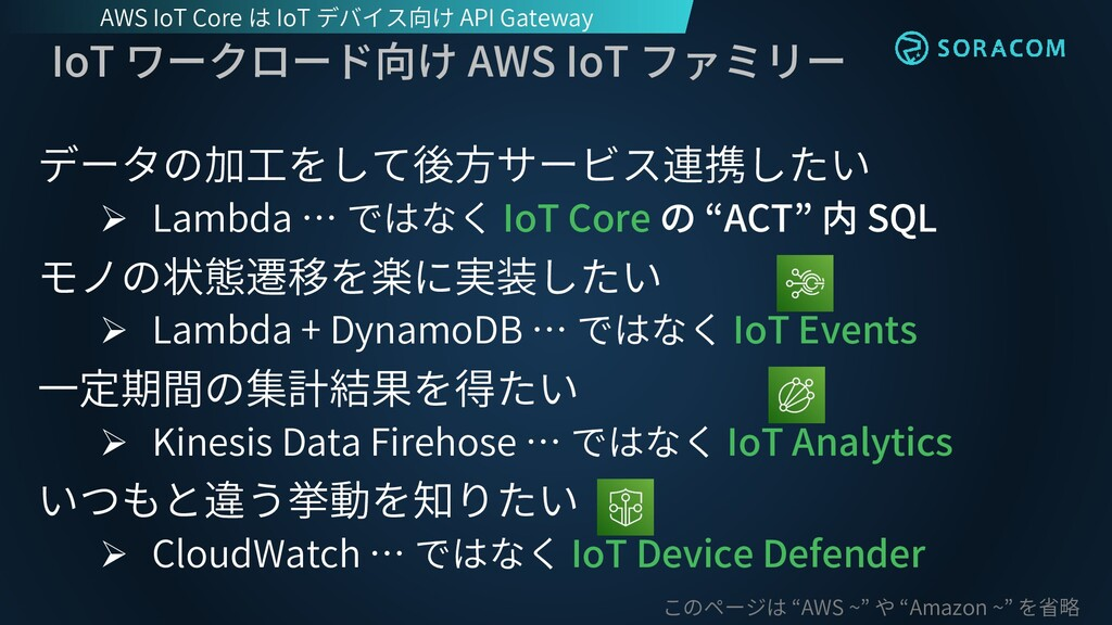 IoT ワークロード向け AWS IoT ファミリー データの加工をして後方サービス連携したい...