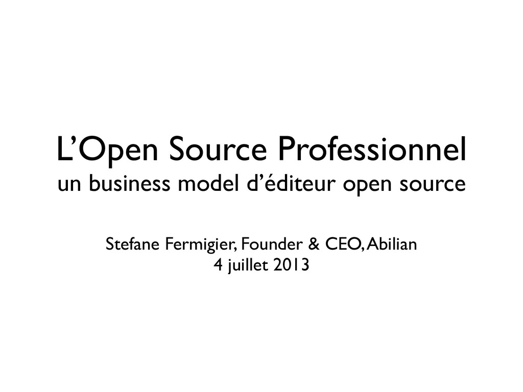 L'Open Source Professionnel un business model d...