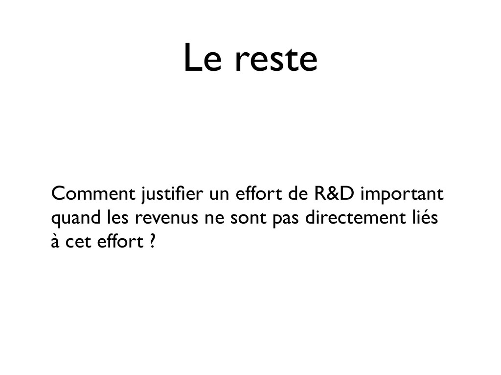 Le reste Comment justifier un effort de R&D impo...