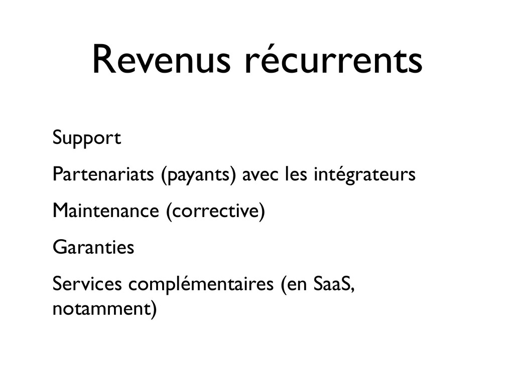 Revenus récurrents Support Partenariats (payant...