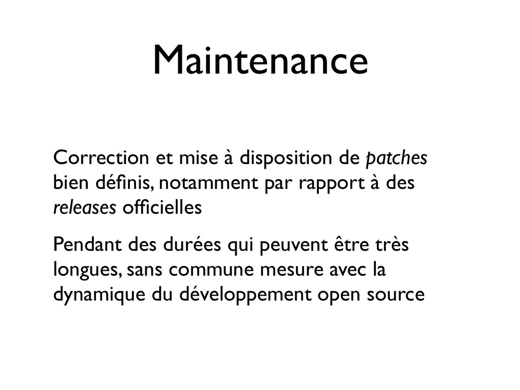 Maintenance Correction et mise à disposition de...