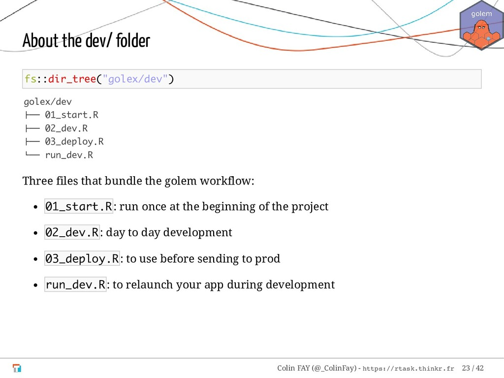 "About the dev/ folder fs::dir_tree(""golex/dev"")..."