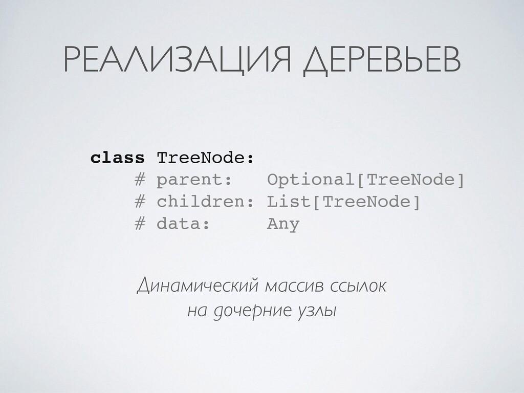 РЕАЛИЗАЦИЯ ДЕРЕВЬЕВ Динамический массив ссылок ...