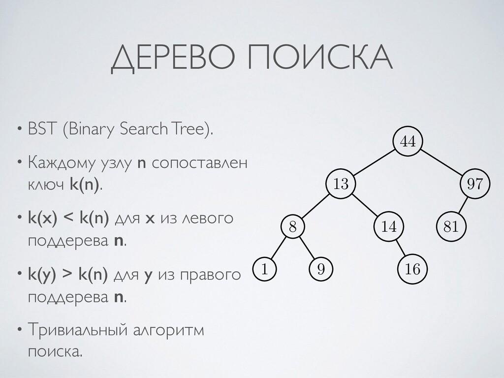 ДЕРЕВО ПОИСКА • BST (Binary Search Tree) .  • К...