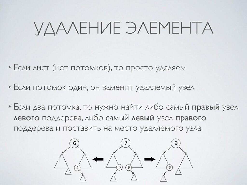 УДАЛЕНИЕ ЭЛЕМЕНТА • Если лист (нет потомков), т...