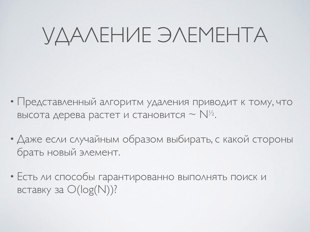 УДАЛЕНИЕ ЭЛЕМЕНТА • Представленный алгоритм уда...