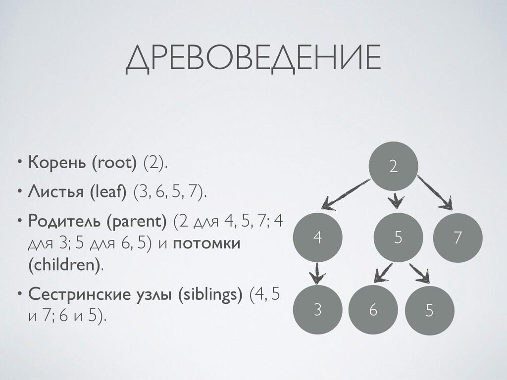 ДРЕВОВЕДЕНИЕ • Корень (root) (2) .  • Листья (l...