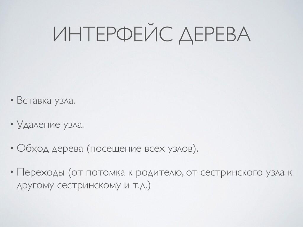 ИНТЕРФЕЙС ДЕРЕВА • Вставка узла .  • Удаление у...