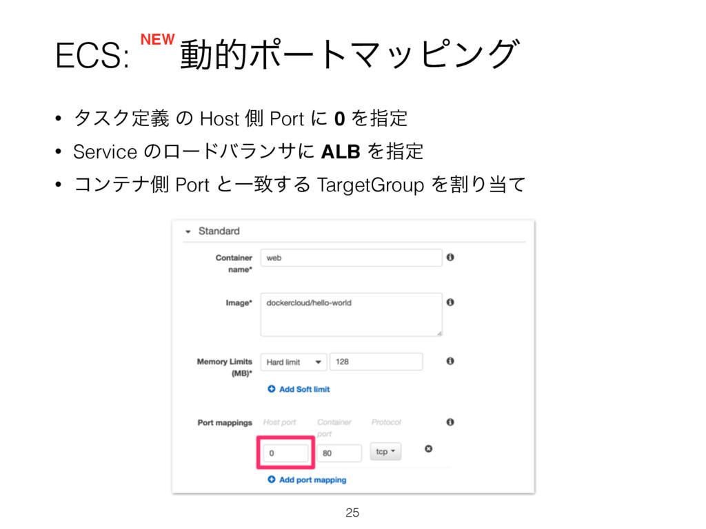 ECS: ಈతϙʔτϚοϐϯά • λεΫఆٛ ͷ Host ଆ Port ʹ 0 Λࢦఆ •...