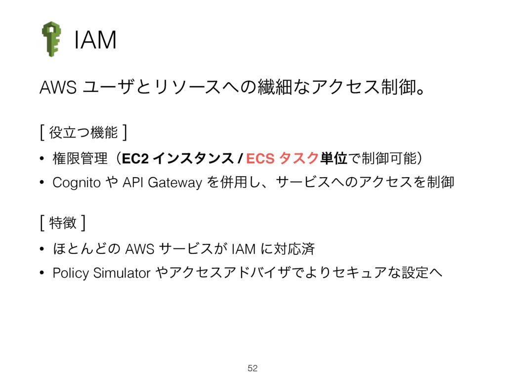 IAM AWS ϢʔβͱϦιʔεͷણࡉͳΞΫηε੍ޚɻ [ ཱͭػ ] • ݖݶཧʢE...