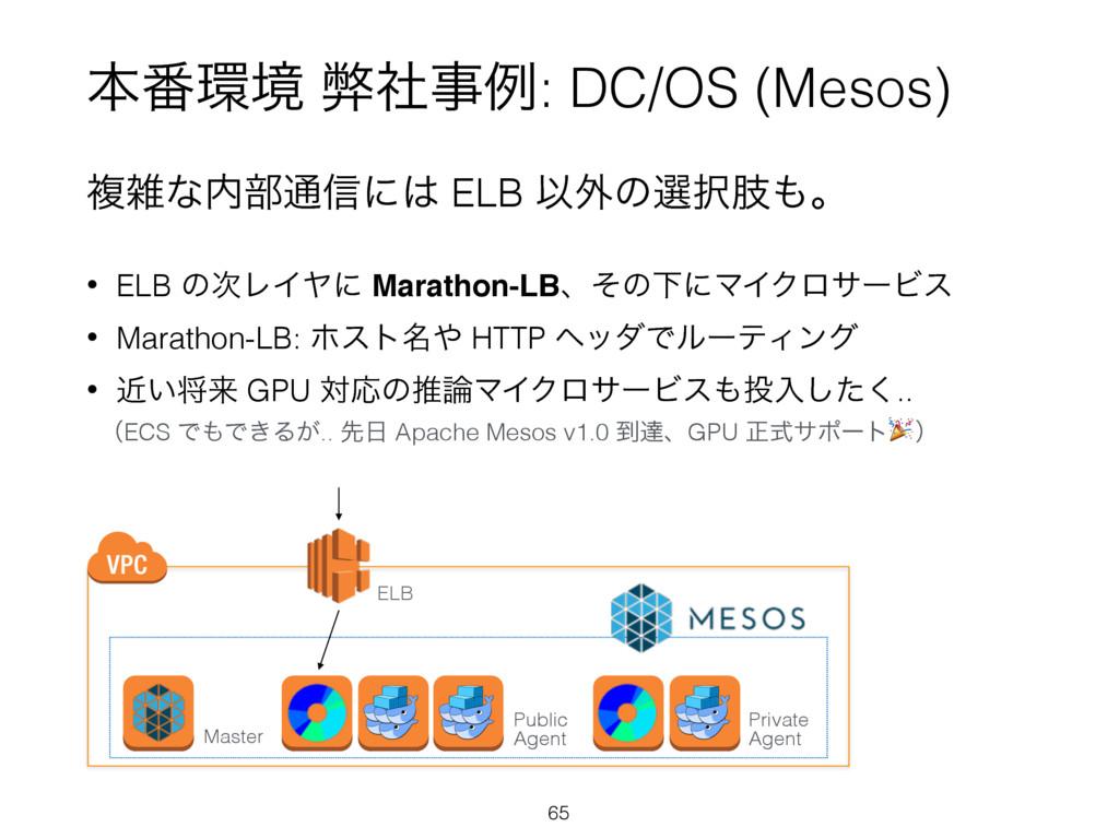 ຊ൪ڥ ฐࣾྫ: DC/OS (Mesos) ෳͳ෦௨৴ʹ ELB Ҏ֎ͷબࢶɻ...