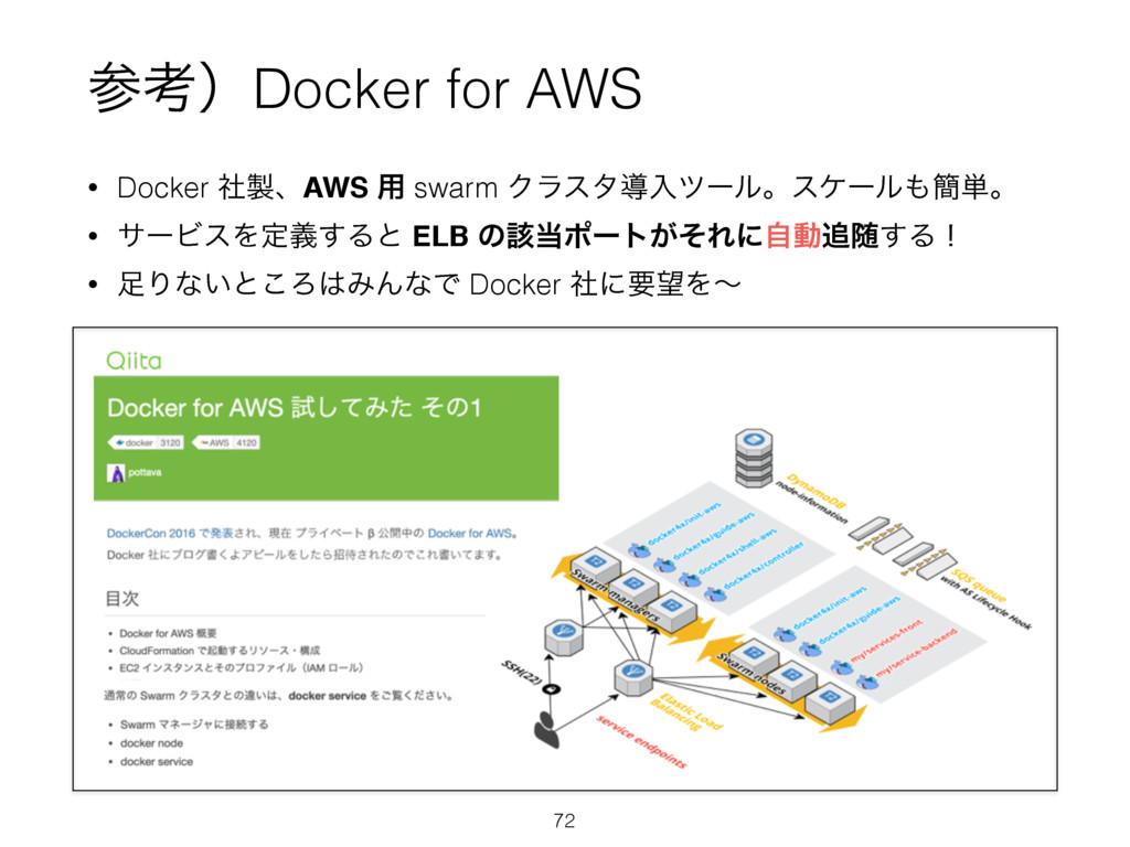 • Docker ࣾɺAWS ༻ swarm Ϋϥελಋೖπʔϧɻεέʔϧ؆୯ɻ • αʔ...