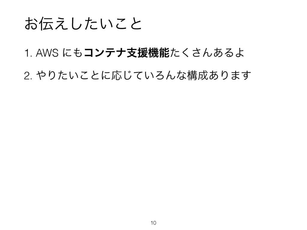 ͓͍͑ͨ͜͠ͱ 1. AWS ʹίϯςφࢧԉػͨ͘͞Μ͋ΔΑ 2. Γ͍ͨ͜ͱʹԠͯ͡...
