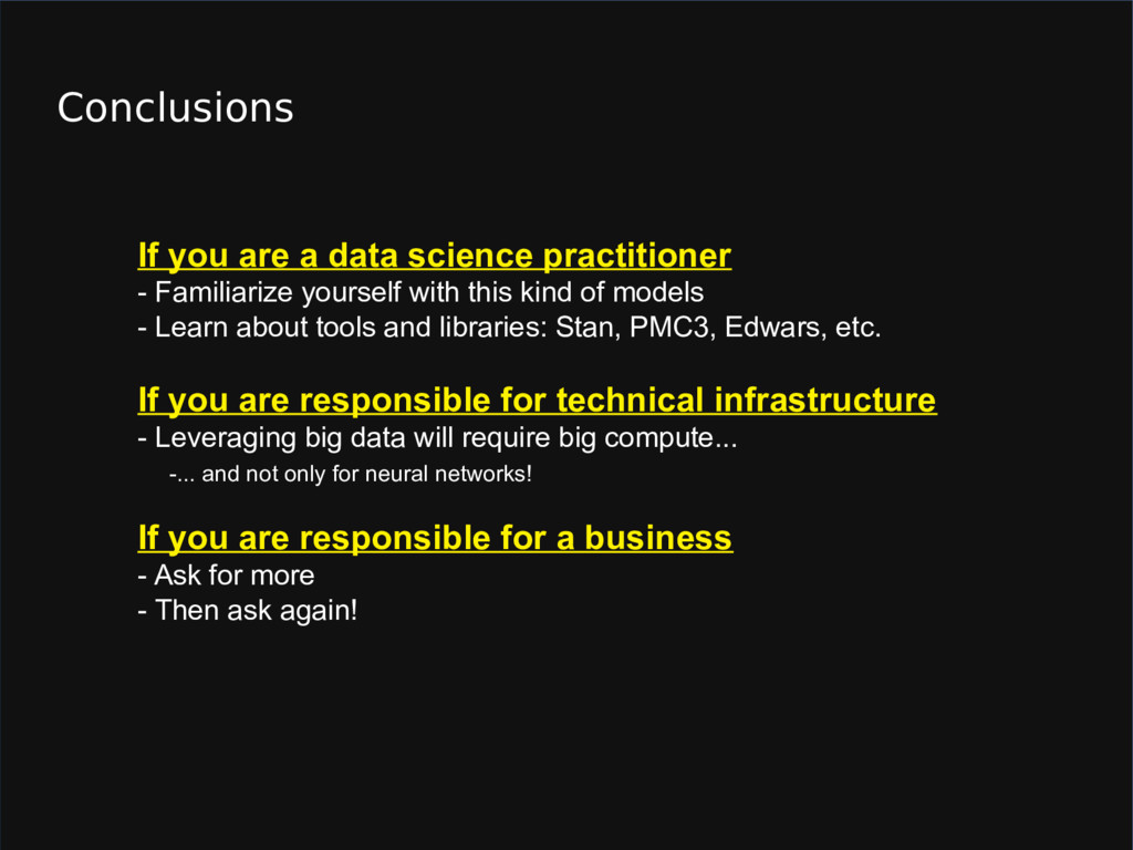 Conclusions If you are a data science practitio...