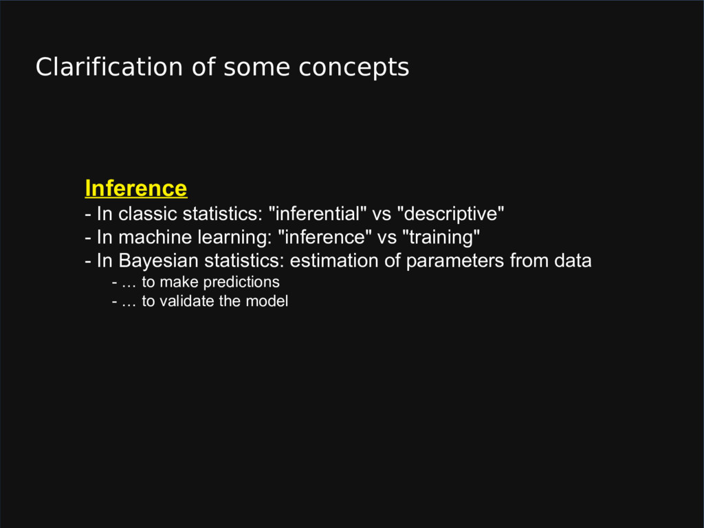 Clarification of some concepts Inference - In c...