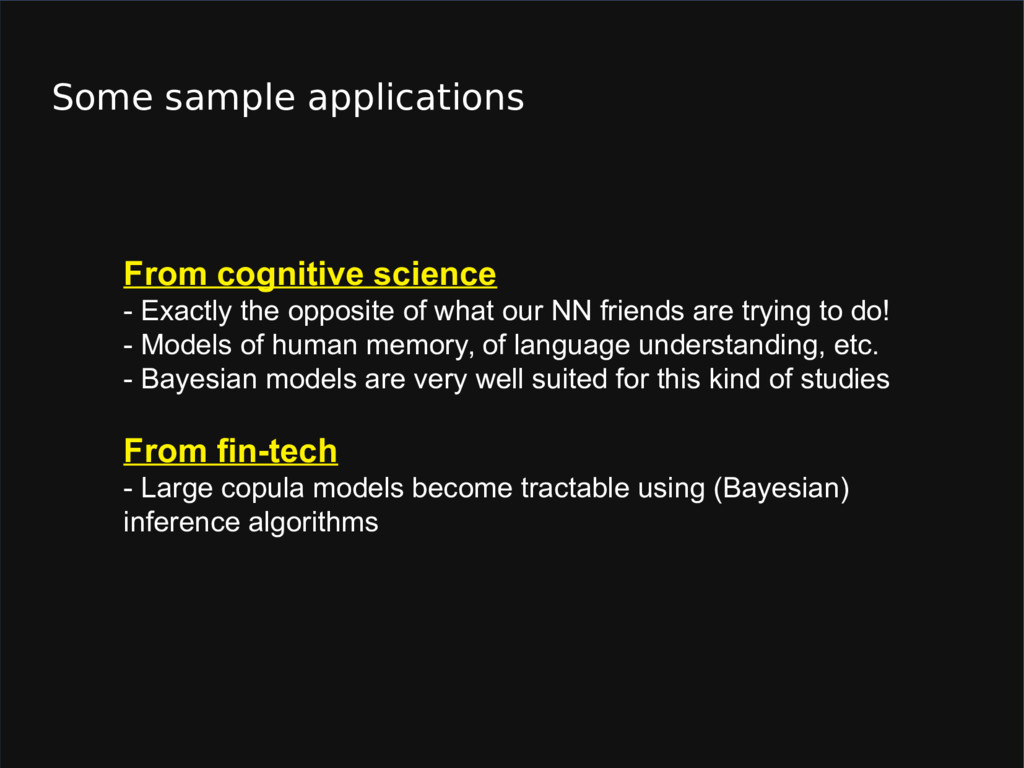 Some sample applications From cognitive science...