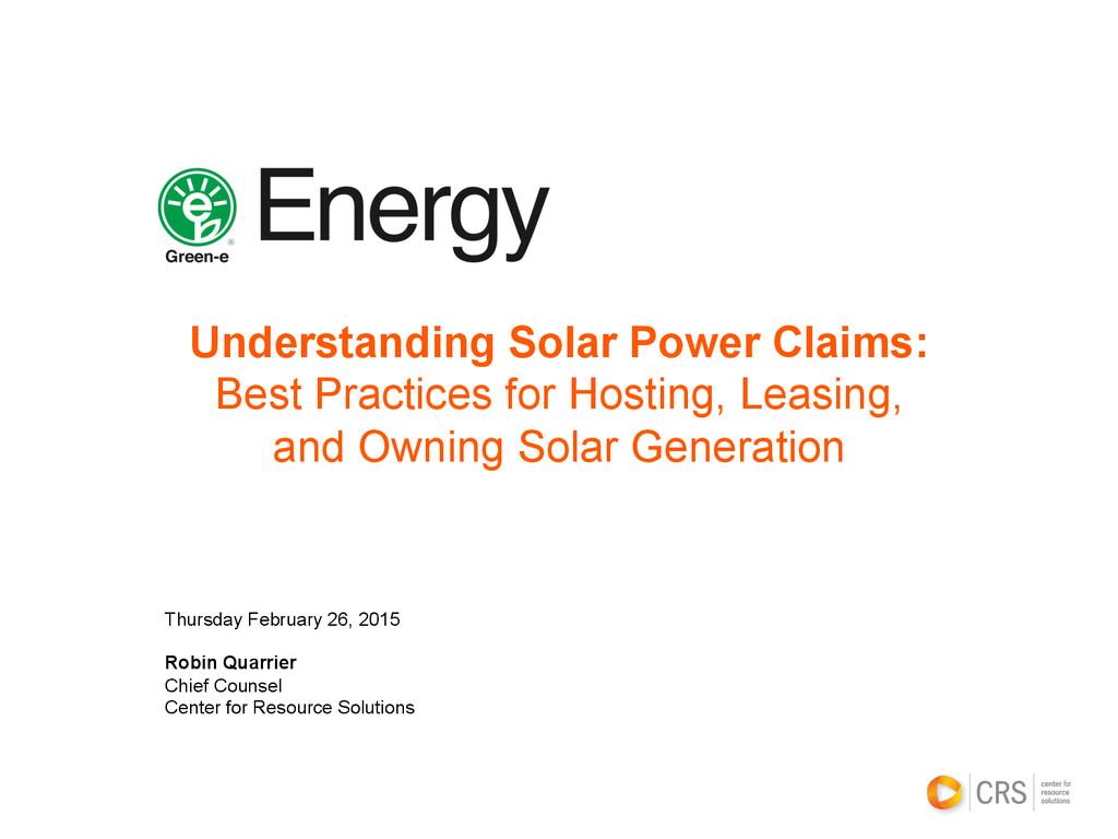 Understanding Solar Power Claims: Best Practice...