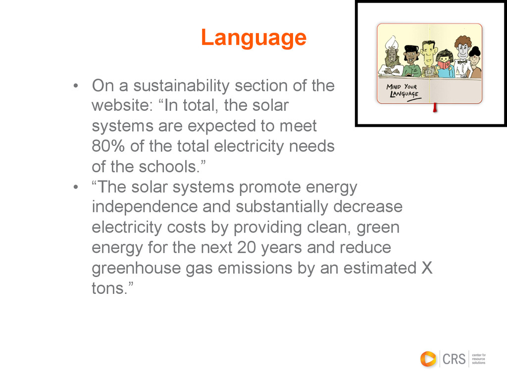 • On a sustainability section of the website: ...