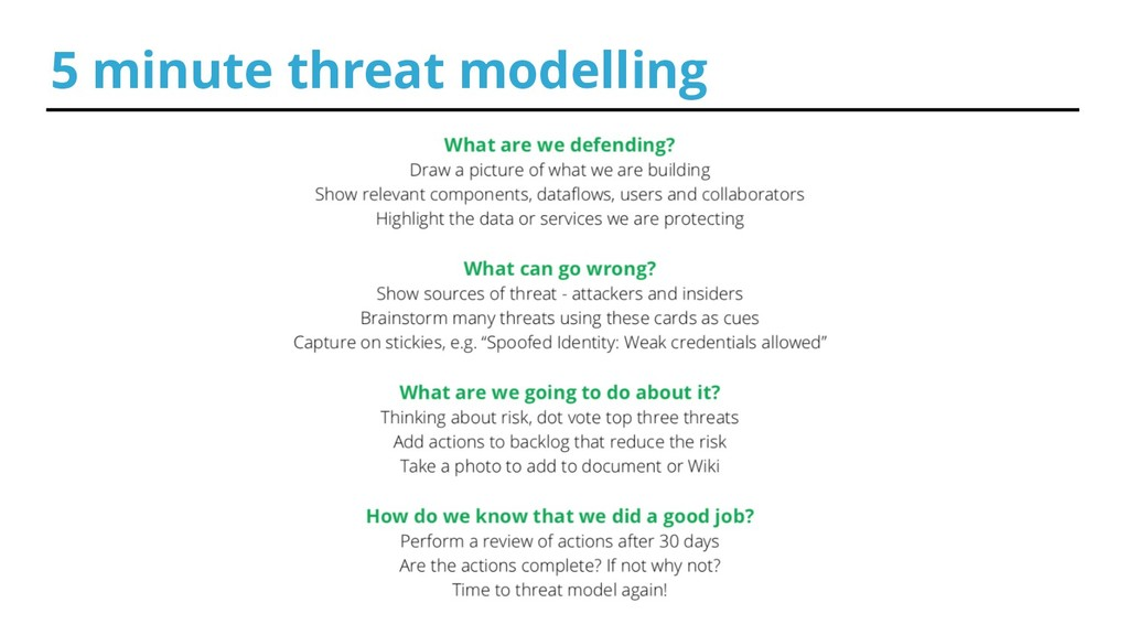 5 minute threat modelling