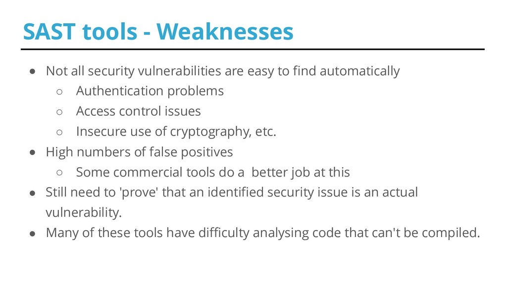 ● Not all security vulnerabilities are easy to ...