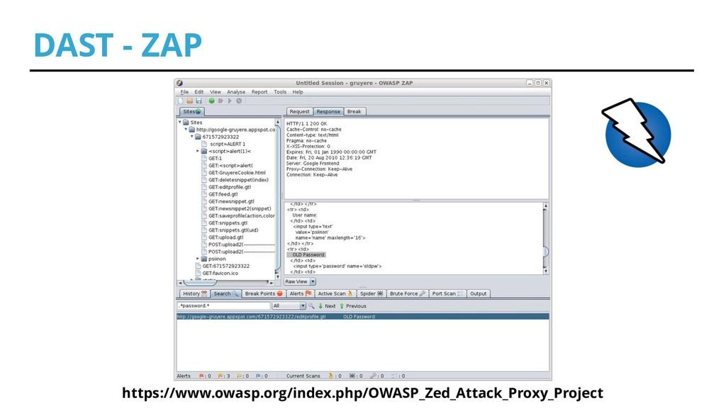 DAST - ZAP https://www.owasp.org/index.php/OWAS...