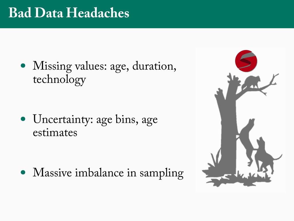 Bad Data Headaches • Missing values: age, durat...