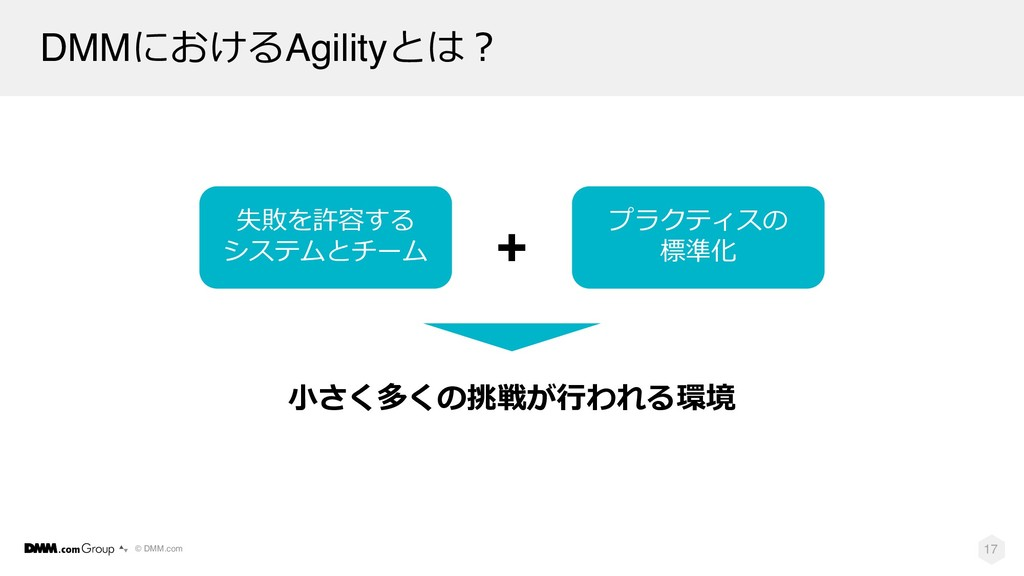 © DMM.com DMMにおけるAgilityとは︖ 17 ⼩さく多くの挑戦が⾏われる環境 ...