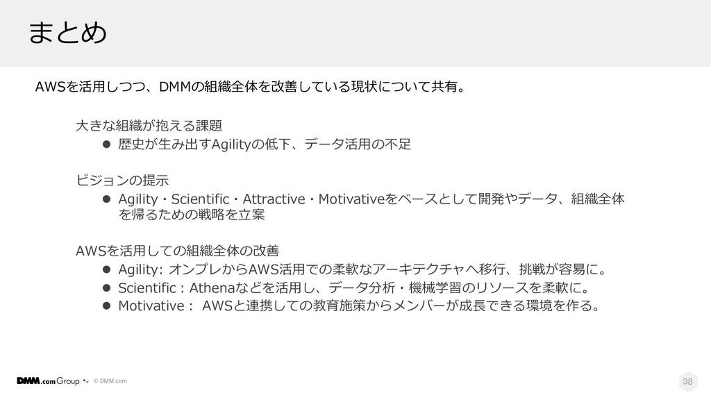 © DMM.com まとめ 38 ⼤きな組織が抱える課題 l 歴史が⽣み出すAgilityの低...