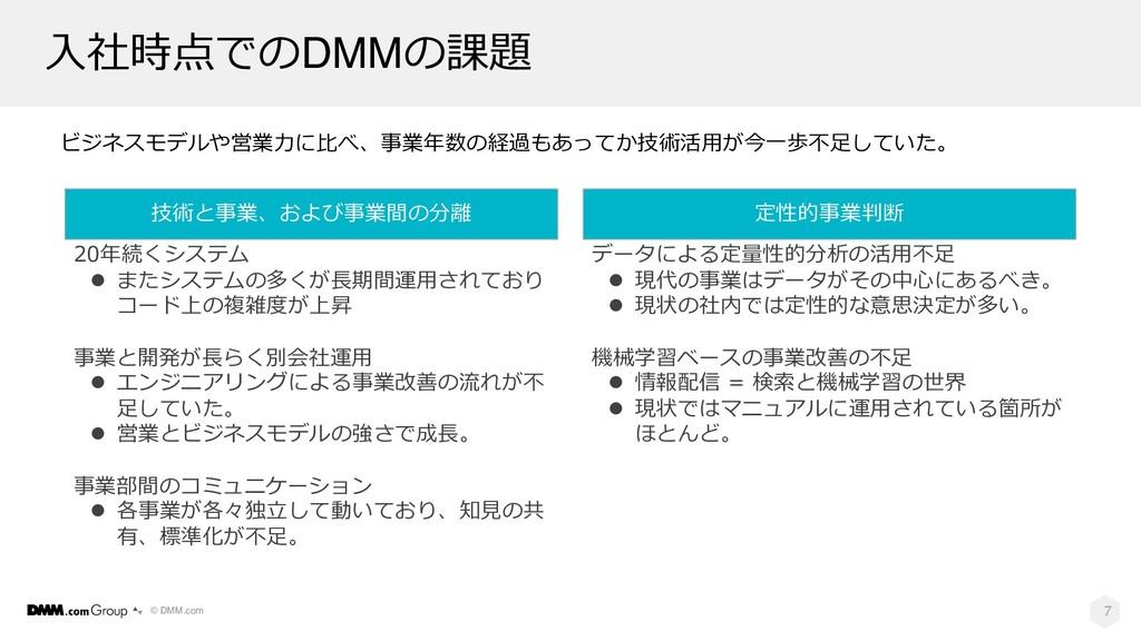 © DMM.com ⼊社時点でのDMMの課題 7 ビジネスモデルや営業⼒に⽐べ、事業年数の経過...