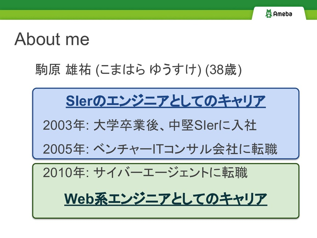 Web系エンジニアとしてのキャリア SIerのエンジニアとしてのキャリア About me 2...