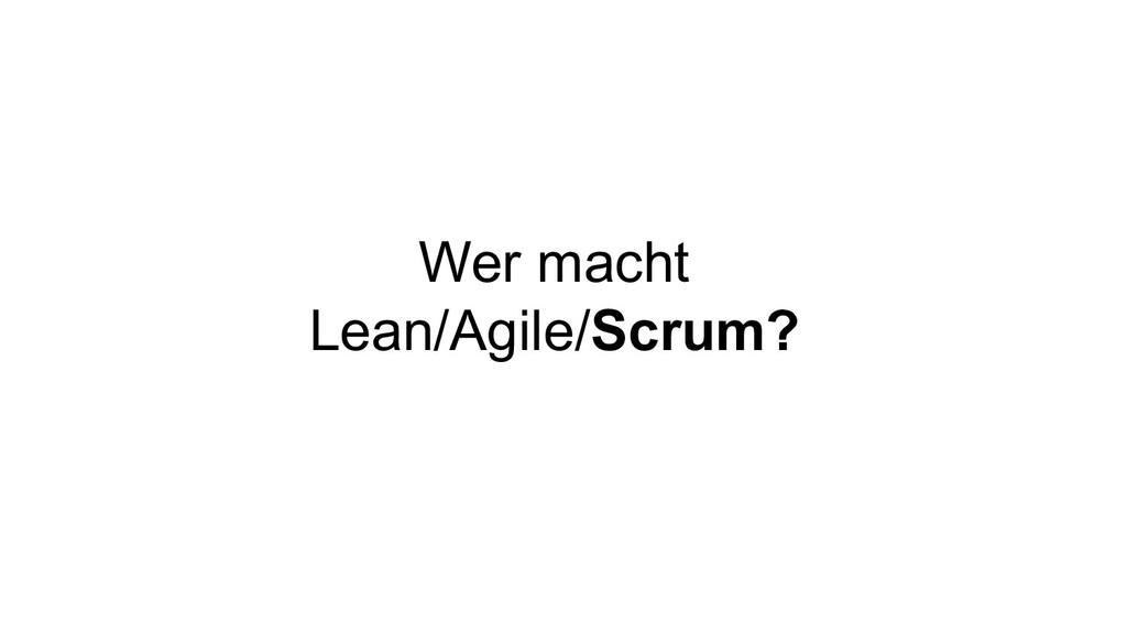 Wer macht Lean/Agile/Scrum?