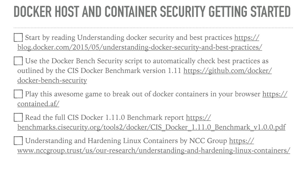 DOCKER HOST AND CONTAINER SECURITY GETTING STAR...