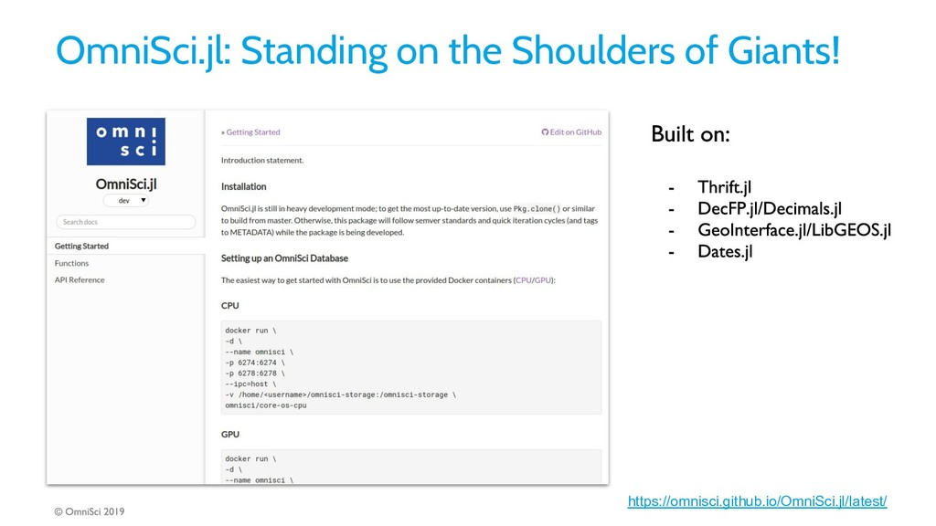 OmniSci.jl: Standing on the Shoulders of Giants...