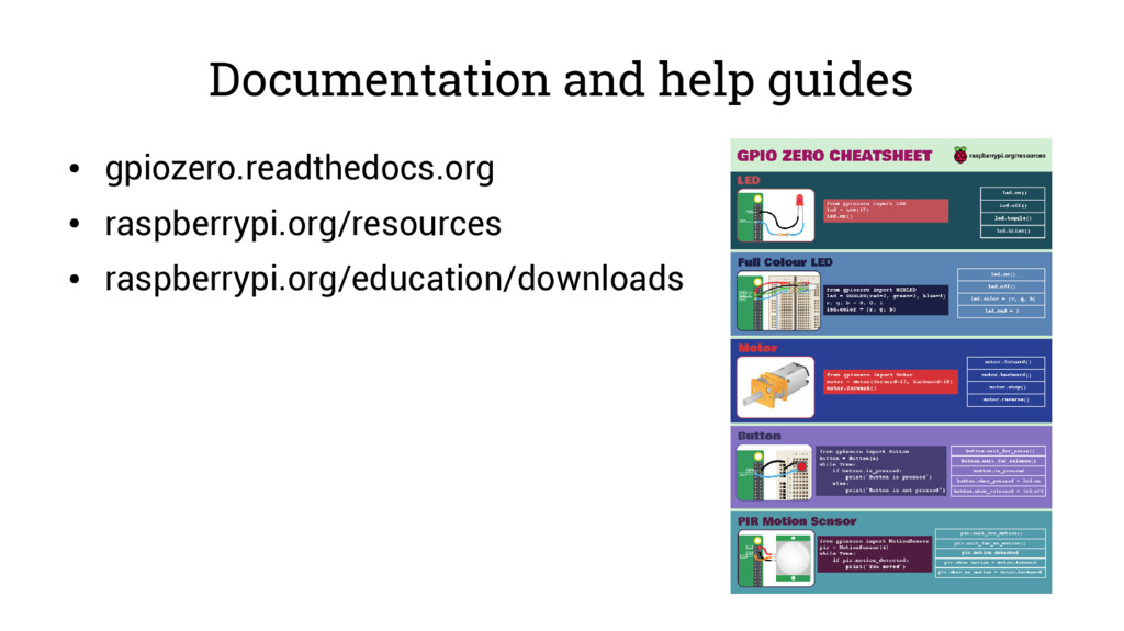 Documentation and help guides ● gpiozero.readth...