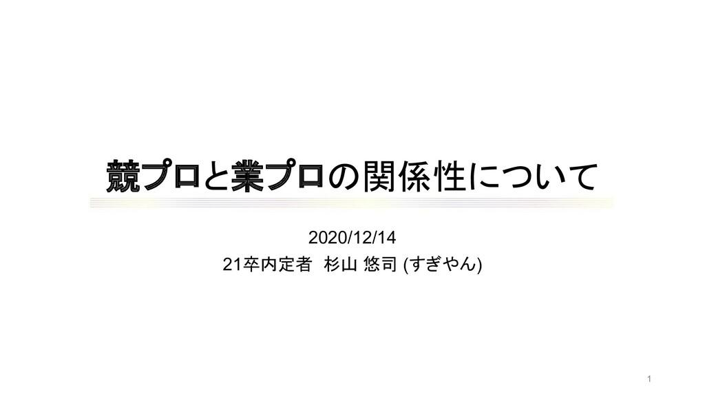 競プロと業プロの関係性について 2020/12/14 21卒内定者 杉山 悠司 (すぎやん) 1