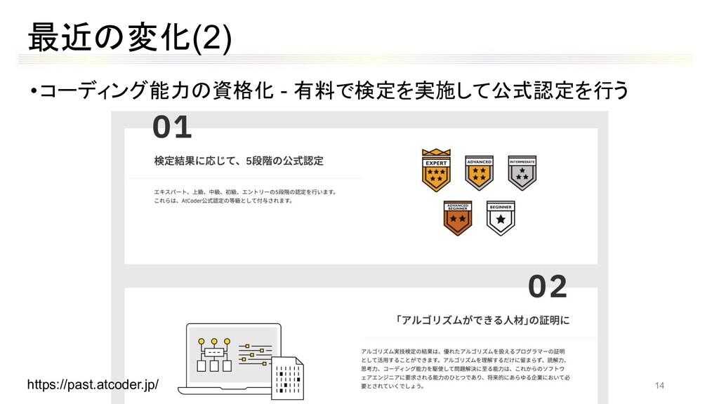 最近の変化(2) •コーディング能力の資格化 - 有料で検定を実施して公式認定を行う http...