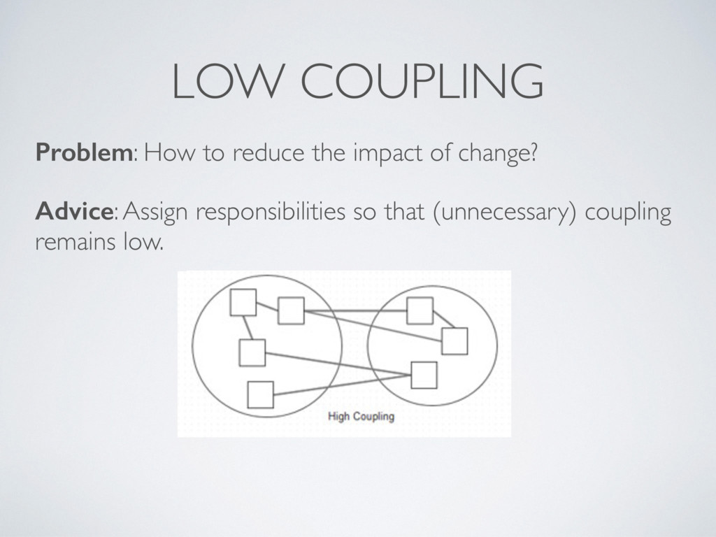 LOW COUPLING Problem: How to reduce the impact ...