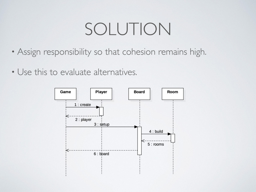 SOLUTION • Assign responsibility so that cohesi...