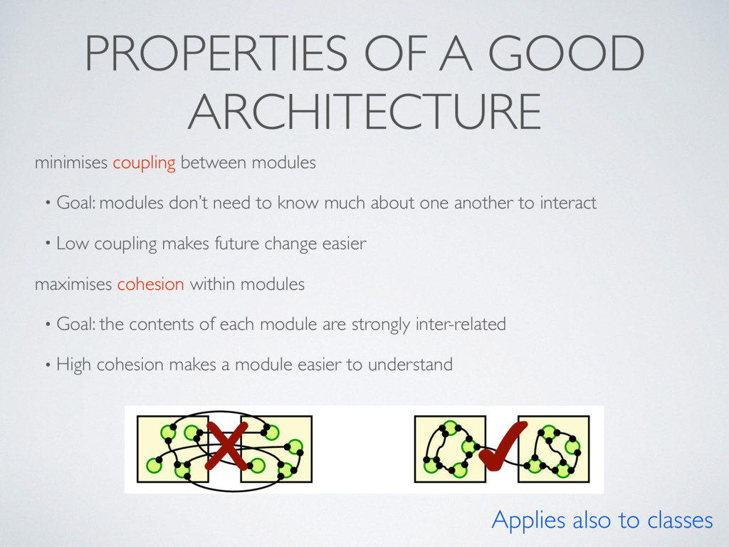 PROPERTIES OF A GOOD ARCHITECTURE minimises cou...