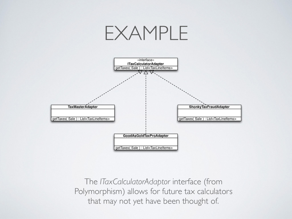 EXAMPLE getTaxes( Sale ) : List<TaxLineItems> T...