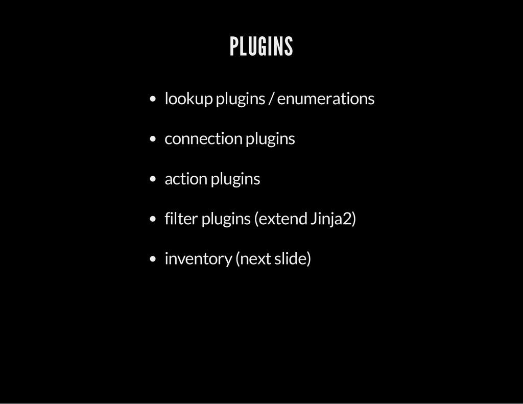 PLUGINS lookup plugins / enumerations connectio...