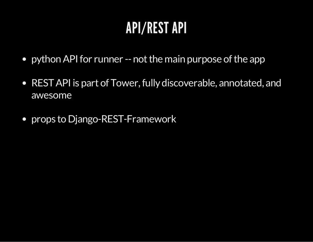 API/REST API python API for runner -- not the m...
