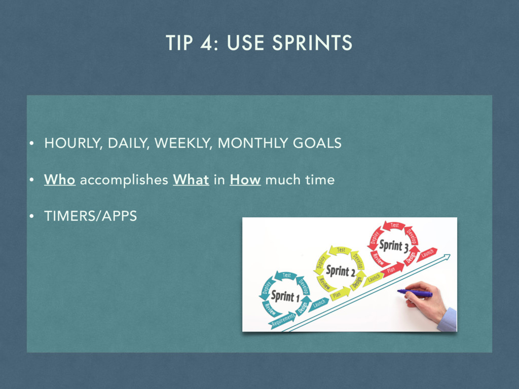 TIP 4: USE SPRINTS • HOURLY, DAILY, WEEKLY, MON...