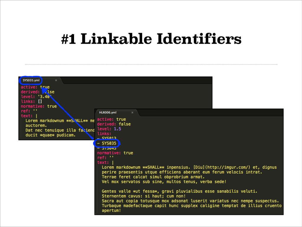 #1 Linkable Identifiers