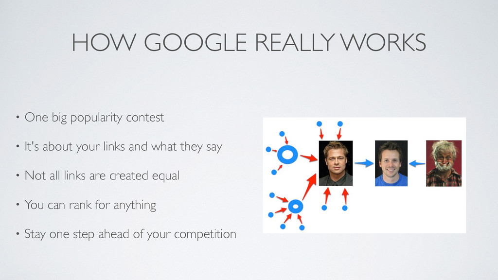 HOW GOOGLE REALLY WORKS • One big popularity co...