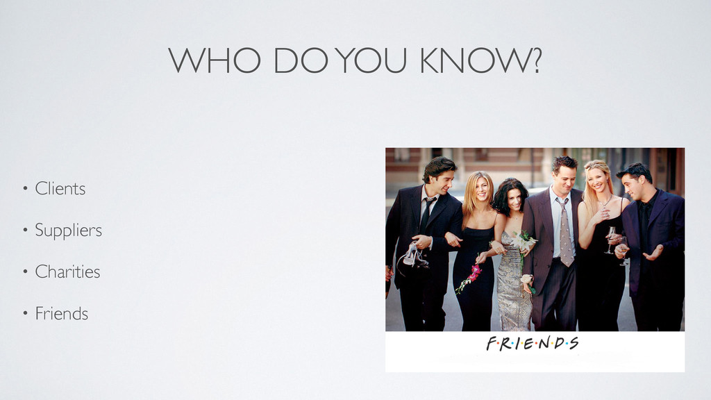 WHO DO YOU KNOW? • Clients   • Suppliers  •...